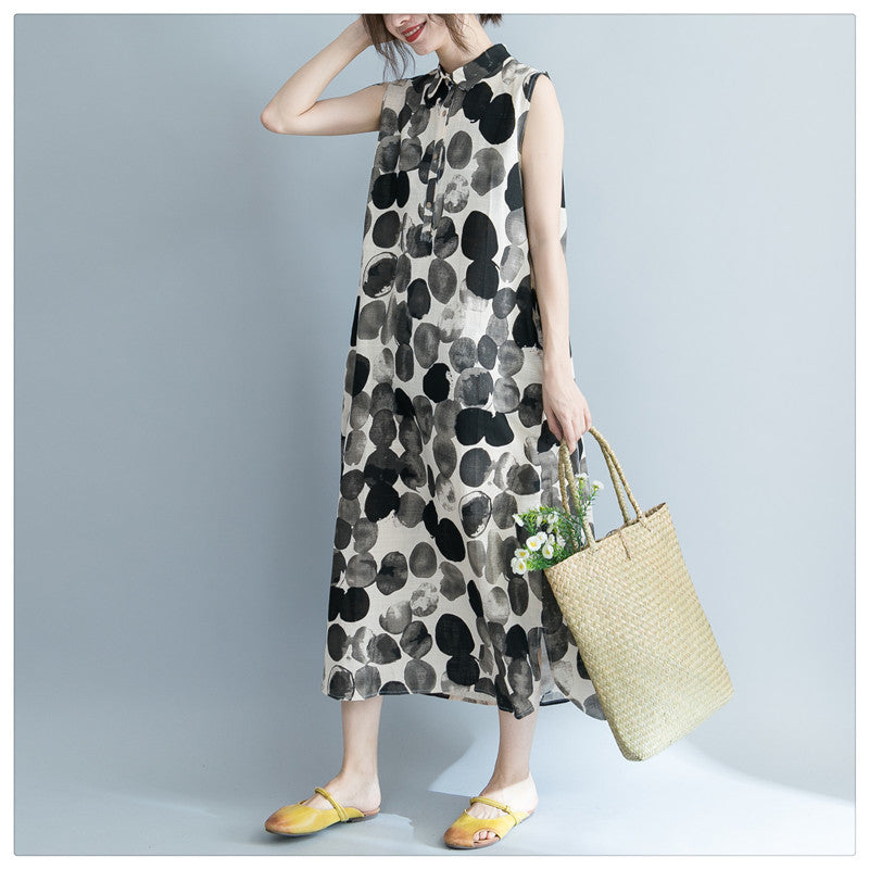 Summer long dress print dot