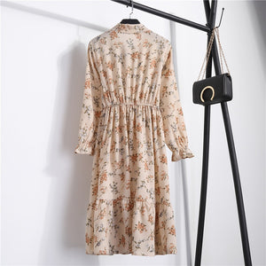 Chiffon  beige dress floral print #815