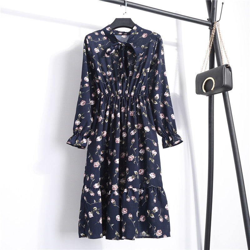 Chiffon blue dress floral print #808