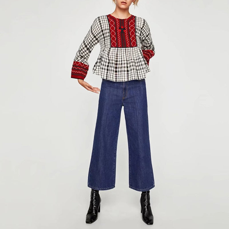 Plaid Vintage Shirt High Waist Embroidery