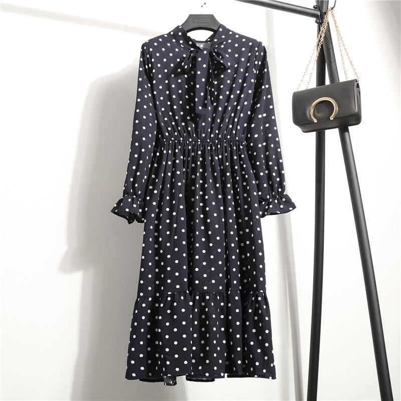 Chiffon black polka dot dress #804