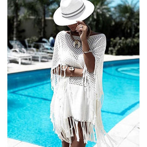 Short white knitting bikini dress