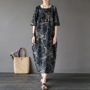 Loose cotton dress flower print