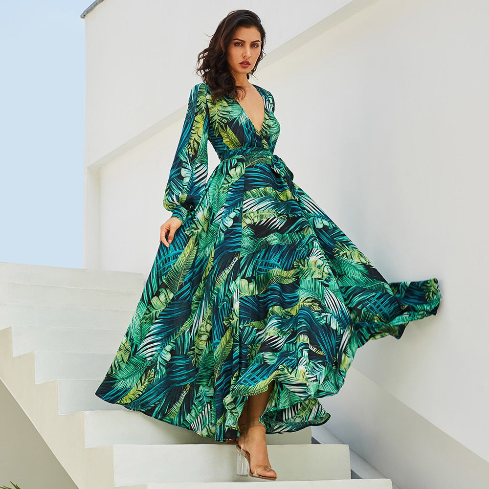 Stylish long dress tropical print
