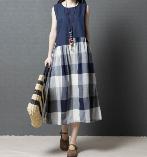 Cotton loose dress sleeveless