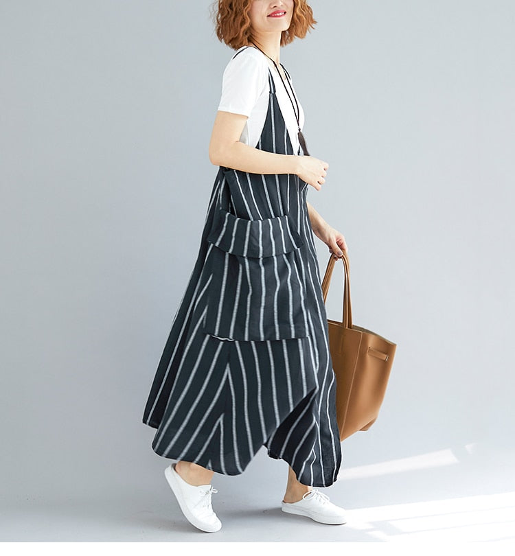 Loose long sundress striped