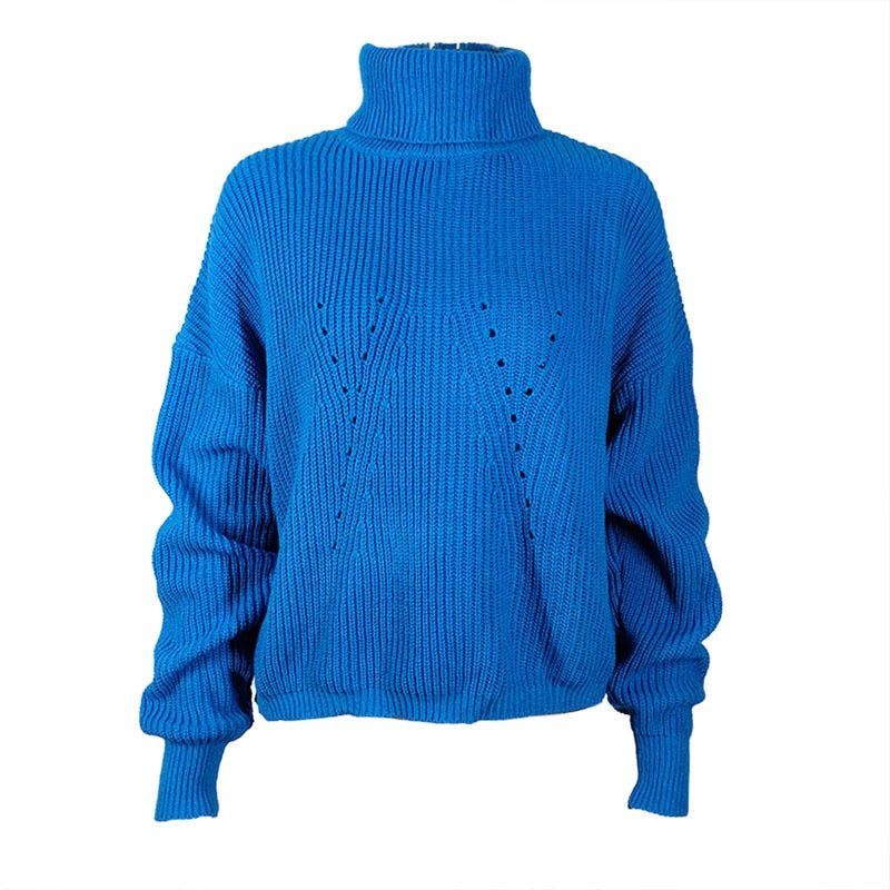 Slim pullover basic knitted-Pretty woman-blue-S-Pretty woman