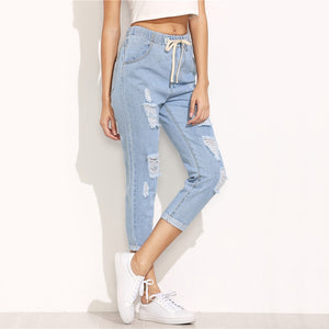 Summer denim trousers ripped