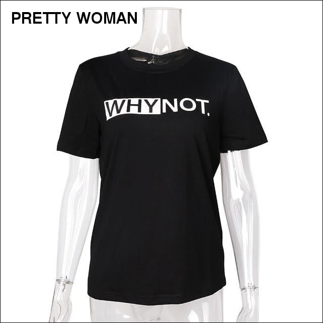 Women's T-shirt Funny letters, color Black, Red, White. PRETTY WOMAN