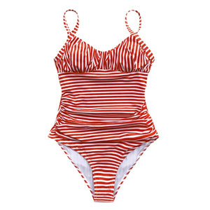 One-piece swimsuit Red&White stripe
