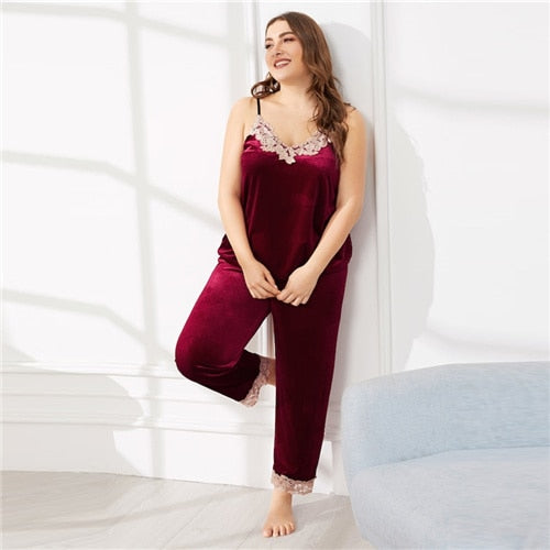 Burgundy velvet pajamas Plus Size