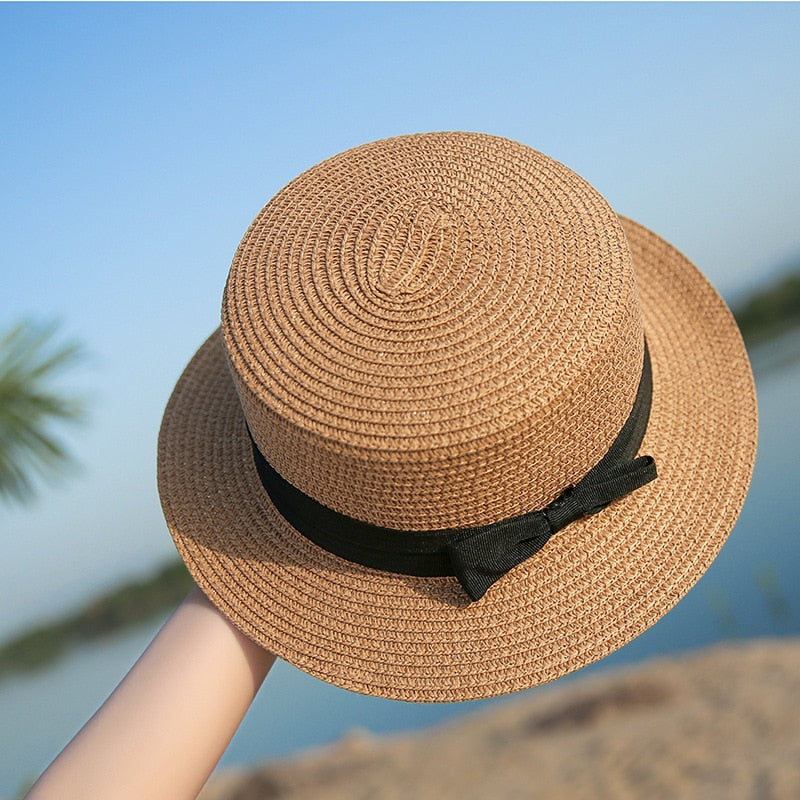 Summer straw hat with bow 2019