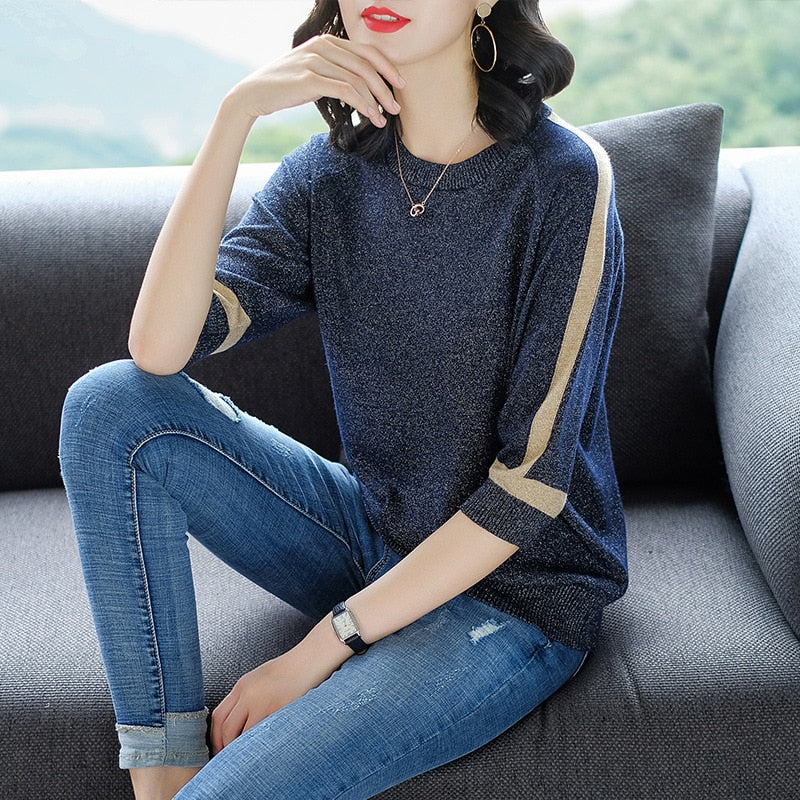 Shiny slim knitted pullover-Pretty woman-Navy Blue-XS-Pretty woman