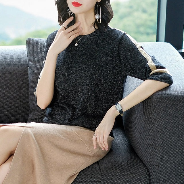 Shiny slim knitted pullover-Pretty woman-Black-XS-Pretty woman
