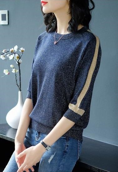 Shiny slim knitted pullover-Pretty woman-Pretty woman