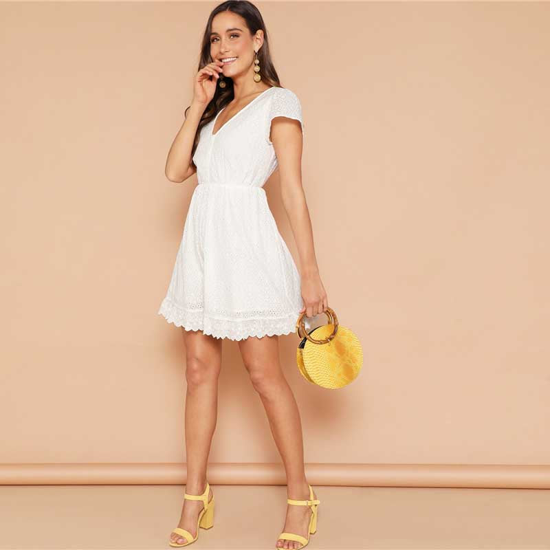 Short white lace dress
