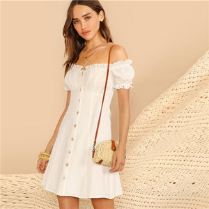 Summer white off the shoulder dress