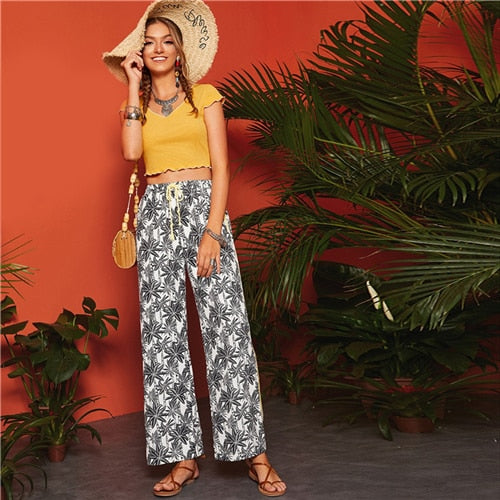 Spring tropical print pants