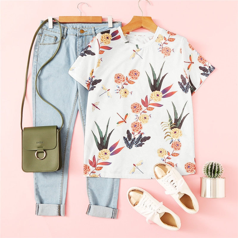 Basic T-shirt print plants short sleeve