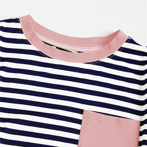 T-shirt striped pocket patched