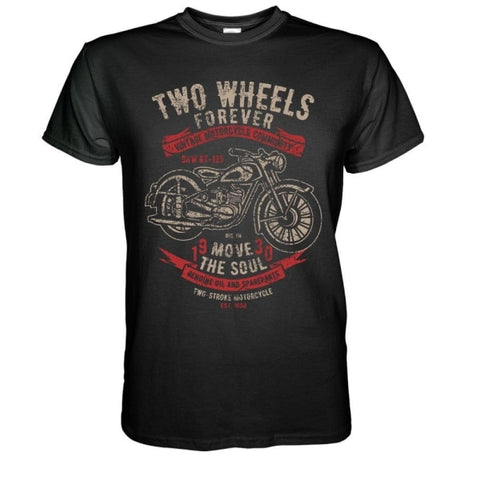 T-shirt moto <br/>two wheels forever - crazy riders