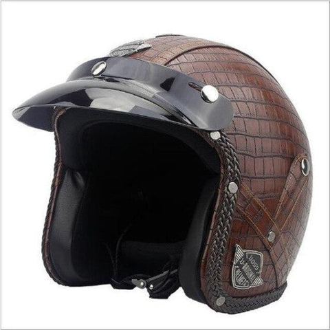 Casque Moto Cuir Marron - crazy riders