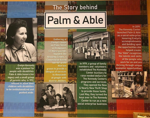 The story behind Palm & Able - picture of banner displayed behind the checkout counter at the Shelton store.