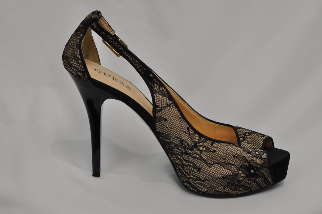 Guess Black Lace over Nude Stiletto Heels