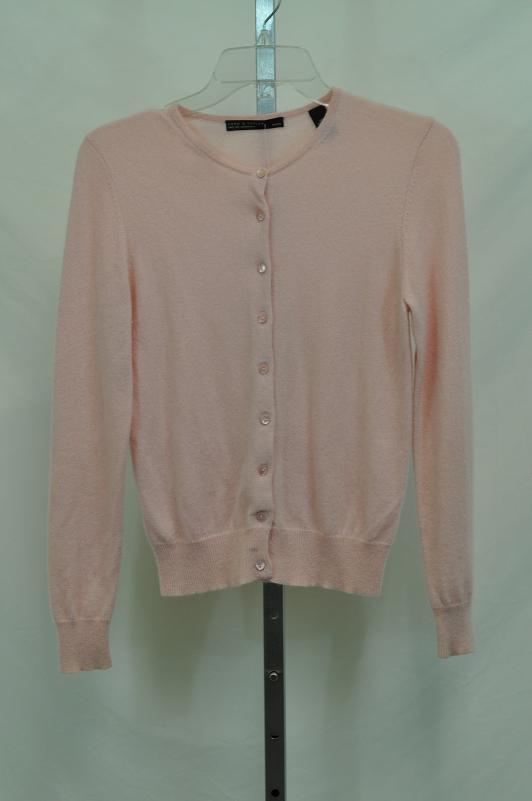 Lord & Taylor Two Ply Pink Cashmere Cardigan