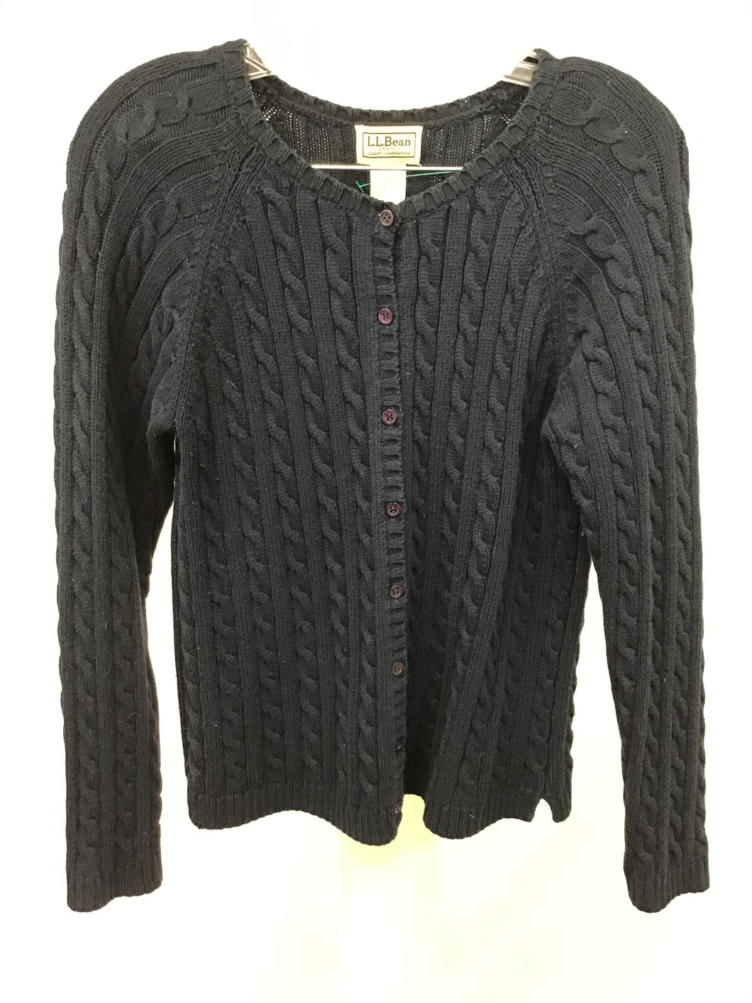LL Bean Navy Blue Cable Cardigan