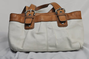 Coach Ivory with Brown Trim Leather Handbag