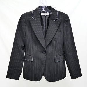 Tahari Petite Black with Thin Blue Striped Blazer