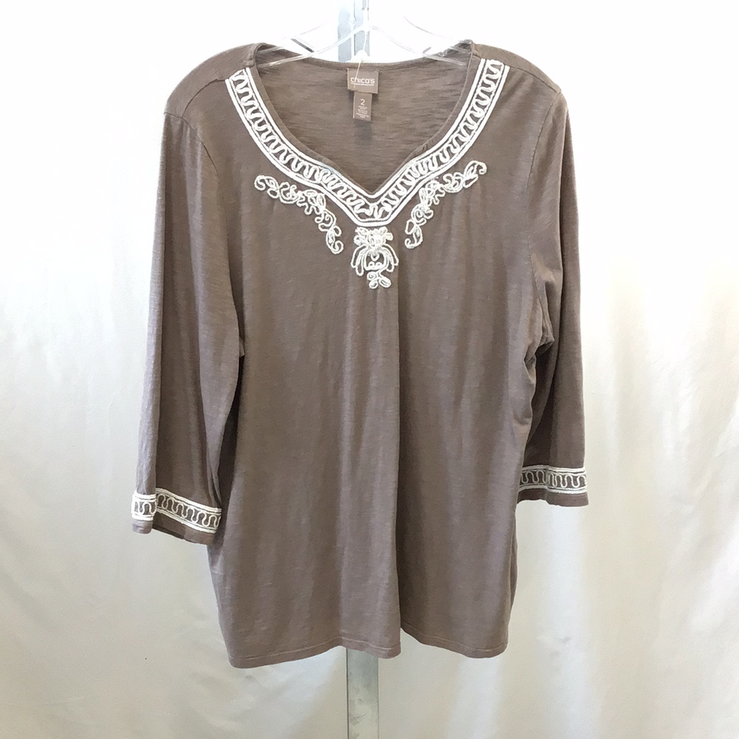 Chico's Brown and Cream Ladies V-Neck Patterned Top