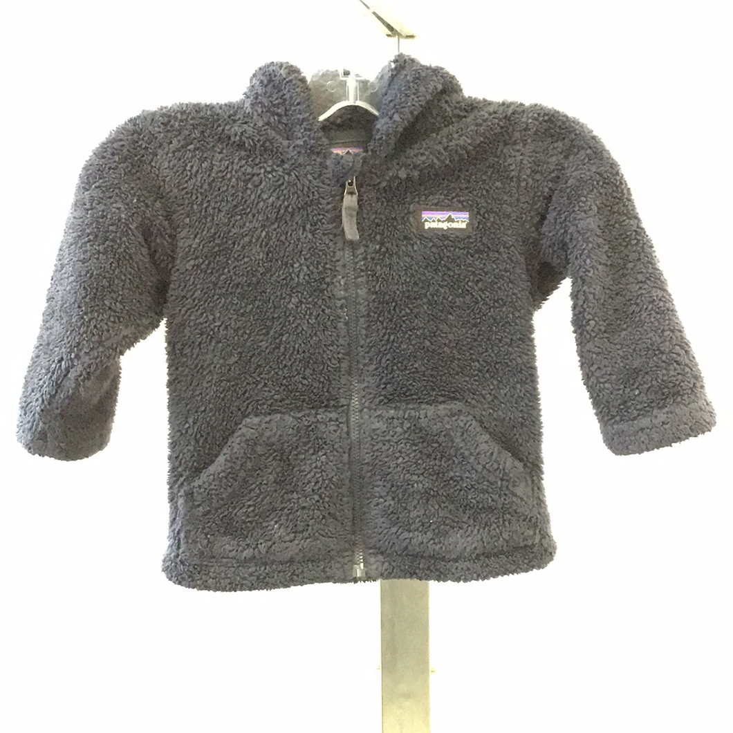 Patagonia Navy Blue Fuzzy Zip Up Jacket with Hood - 12-18 M