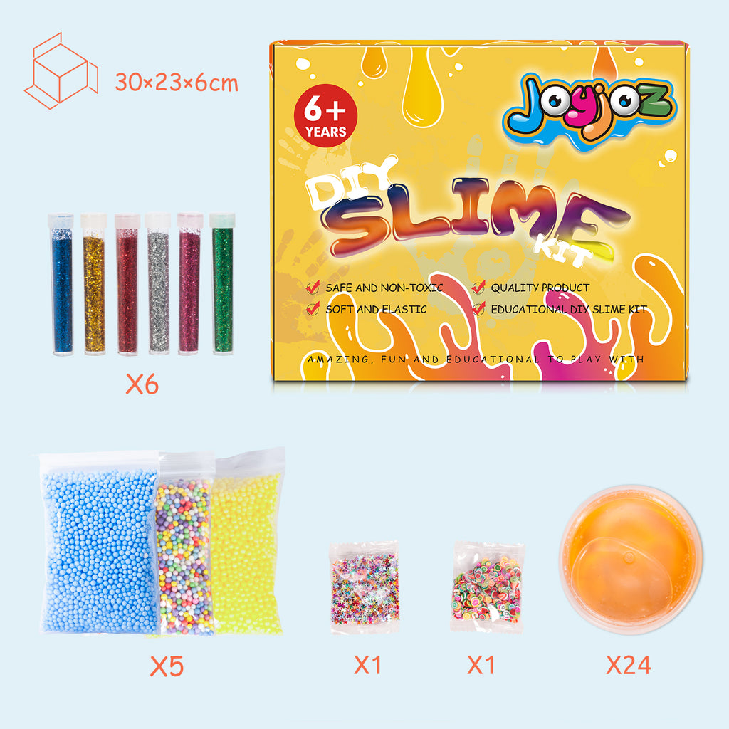 24 Colors DIY Crystal Slime Kits, Putty Slime Pack - Joyjoz
