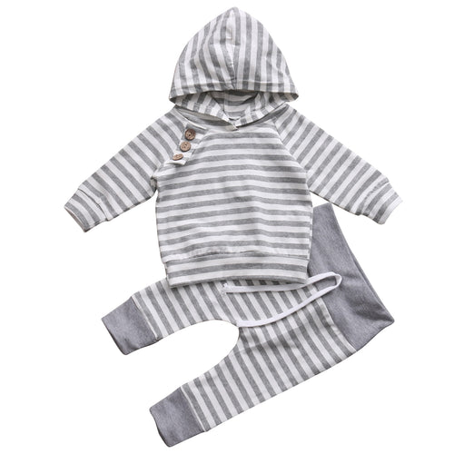 2 Piece Hoodie and Pants Cotton Striped Outfit