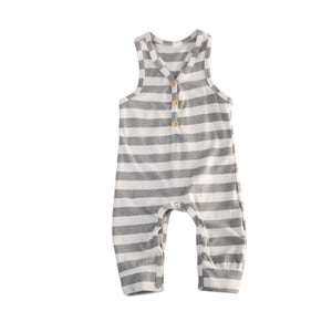 Striped Casual  Sleeveless  Onesie Jumpsuit