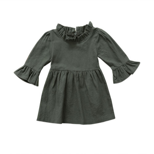 Forest Green Ruffled Neck Dress