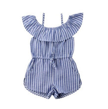 Load image into Gallery viewer, Stripe Summer Romper Suspender Shorts