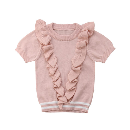 Ruffle Design Pale Pink Knit Sweater