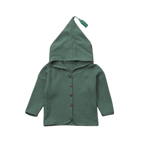 Lightweight Linen Hooded Jacket with Tassel.