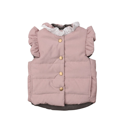 Ruffled Sleeve Bow Design Puffy Winter Vest