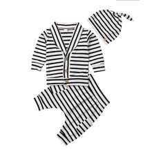 Load image into Gallery viewer, 3 Piece Cotton Striped Cardigan, Pants and Beanie Set