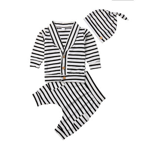 3 Piece Cotton Striped Cardigan, Pants and Beanie Set