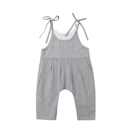 Gray Overall Romper with Shoulder Ties