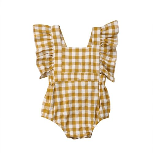 Ruffle Sleeve Plaid Print Romper