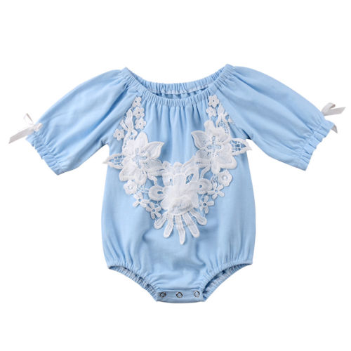 Light Blue Bodysuit Romper with Floral Embroidered Applique