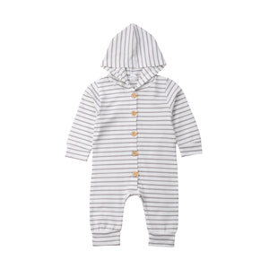 Long Sleeve Cotton Button Hooded Jumpsuit Onesie
