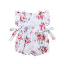 Load image into Gallery viewer, Floral Print Ruffled Romper with Side Ties