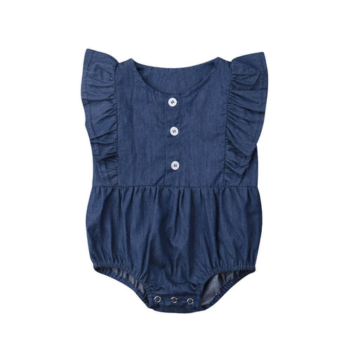 Denim-Style Baby Romper with Ruffled Sleeves